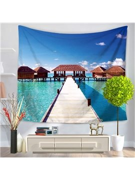 Seascape with Wooden Trestle and Pavilions Decorative Hanging Wall Tapestry