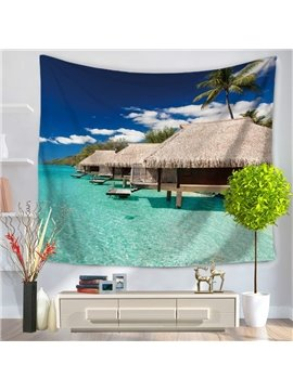 Seaside Wooden House and Clean Ocean Pattern Decorative Hanging Wall Tapestry