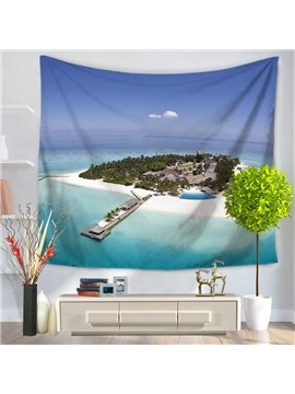 Small Island and Houses Surrounded by Ocean Scenery Decorative Hanging Wall Tapestry