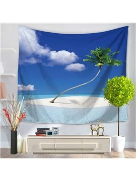 Palm Tree in Sunny Island Beach Pattern Decorative Hanging Wall Tapestry