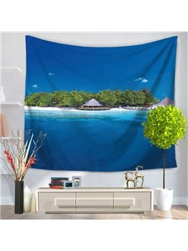 Lonely Sea Island with Dark Blue Sky and Ocean Decorative Hanging Wall Tapestry