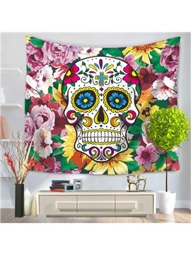 Colorful Skull Surrounded by Purple Flowers Decorative Hanging Wall Tapestry