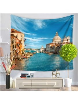 Coastal Water City Scenery Decorative Hanging Wall Tapestry