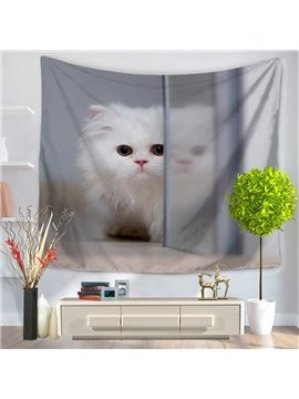 Cute White Persian Cat Behind Glass Door Decorative Hanging Wall Tapestry