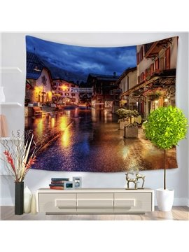 European City Night Scene and Rain Decorative Hanging Wall Tapestry