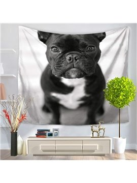 Cute Sitting Black Bulldog Pattern Decorative Hanging Wall Tapestry