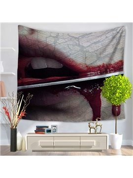 Cutting Lips with Knife Bleeding Horrible Pattern Decorative Hanging Wall Tapestry