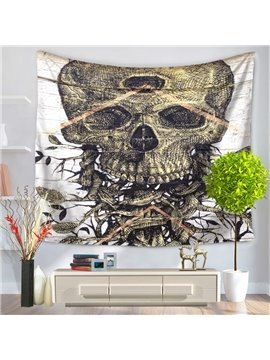 Horrible Skull with Branches Decorative Hanging Wall Tapestry
