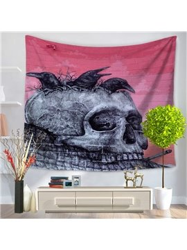 Gray Skull with Black Crow and Nest Decorative Hanging Wall Tapestry