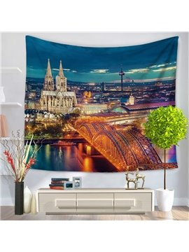 Glamorous Paris City Night Scene Decorative Hanging Wall Tapestry