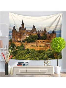 Splendid Castle with Green Trees Decorative Hanging Wall Tapestry