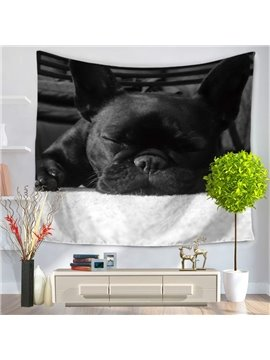 Cute Black Bulldog Sleeping Pattern Decorative Hanging Wall Tapestry