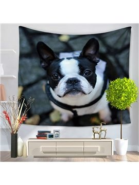 Bulldog Standing on Ground and Acting Cute Decorative Hanging Wall Tapestry