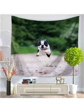 Bulldog Jumping High and Green Woods Decorative Hanging Wall Tapestry