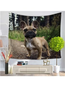 Cute Bulldog in Forest Path Decorative Hanging Wall Tapestry
