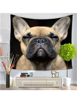 Squinting and Serious Bulldog Decorative Hanging Wall Tapestry