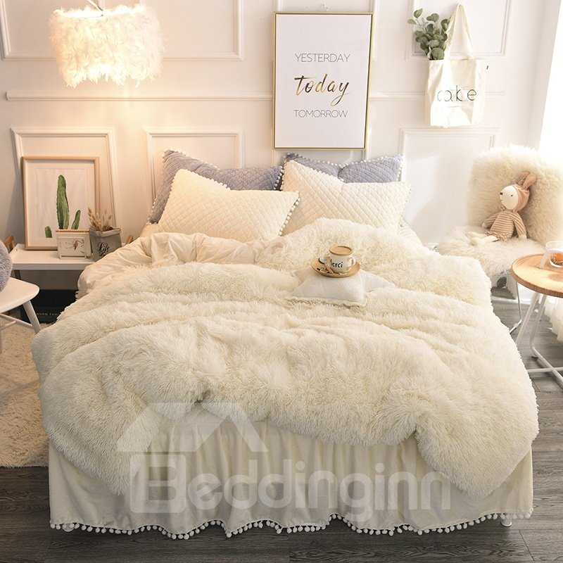 Beige Simple Style Quilting Bed Skirt 4 Piece Fluffy