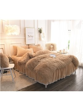 Solid_Camel_Quilting_Bed_Skirt_Super_Soft_4Piece_Fluffy_Bedding_SetsDuvet_Cover
