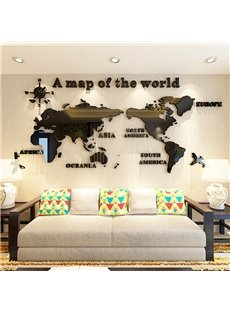 3D World Map Pattern Acrylic Waterproof Sturdy and Eco-friendly Self-adhesive Wall Stickers