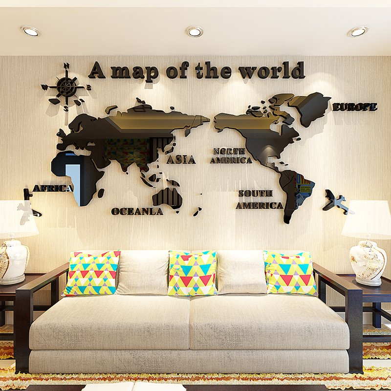 3d world map pattern acrylic waterproof sturdy and eco friendly self 41 3d world map pattern acrylic waterproof sturdy and eco friendly self adhesive wall stickers gumiabroncs Image collections