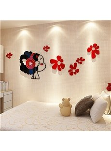 3D Girl with Earphone Mics Acrylic Waterproof Sturdy and Eco-friendly Self-adhesive Wall Stickers