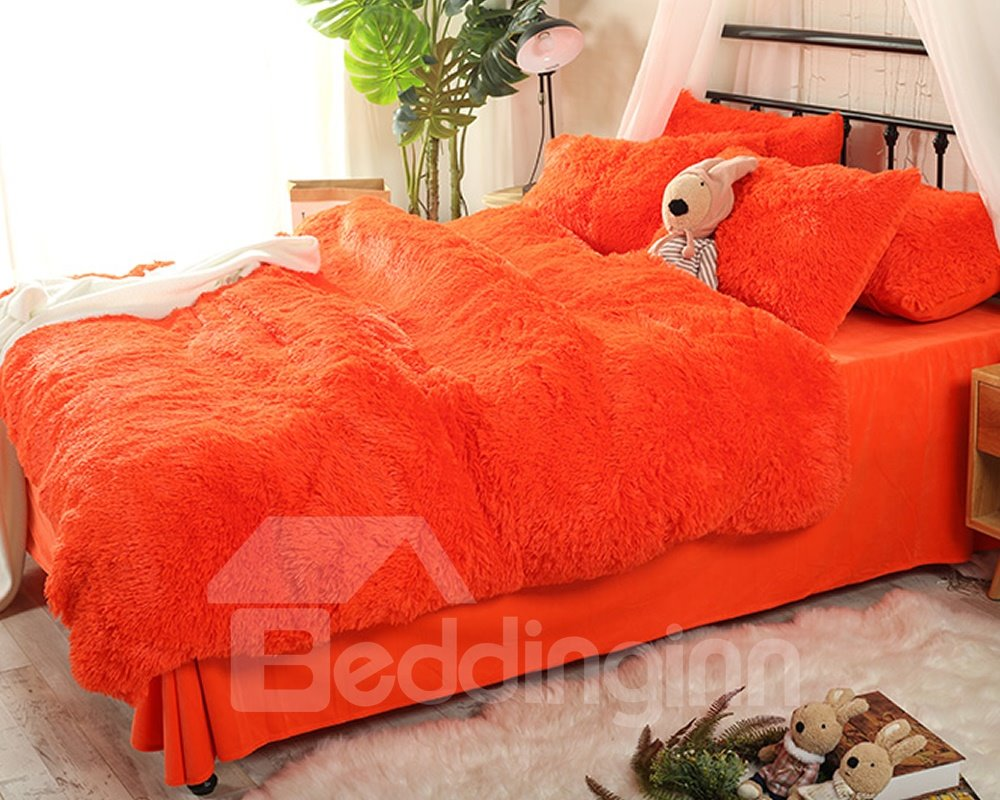 Solid Bright Orange Super Soft Plush 4-Piece Fluffy Bedding Sets/Duvet Cover