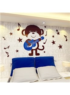 3D Brown Bear with Blue Guitar Acrylic Waterproof and Eco-friendly Self-adhesive Wall Stickers