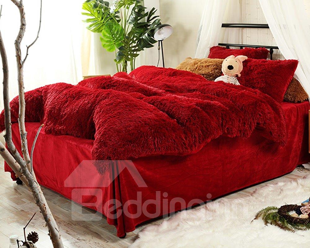 Full Size Hot Red Super Soft Plush 4-Piece Fluffy Bedding Sets/Duvet Cover