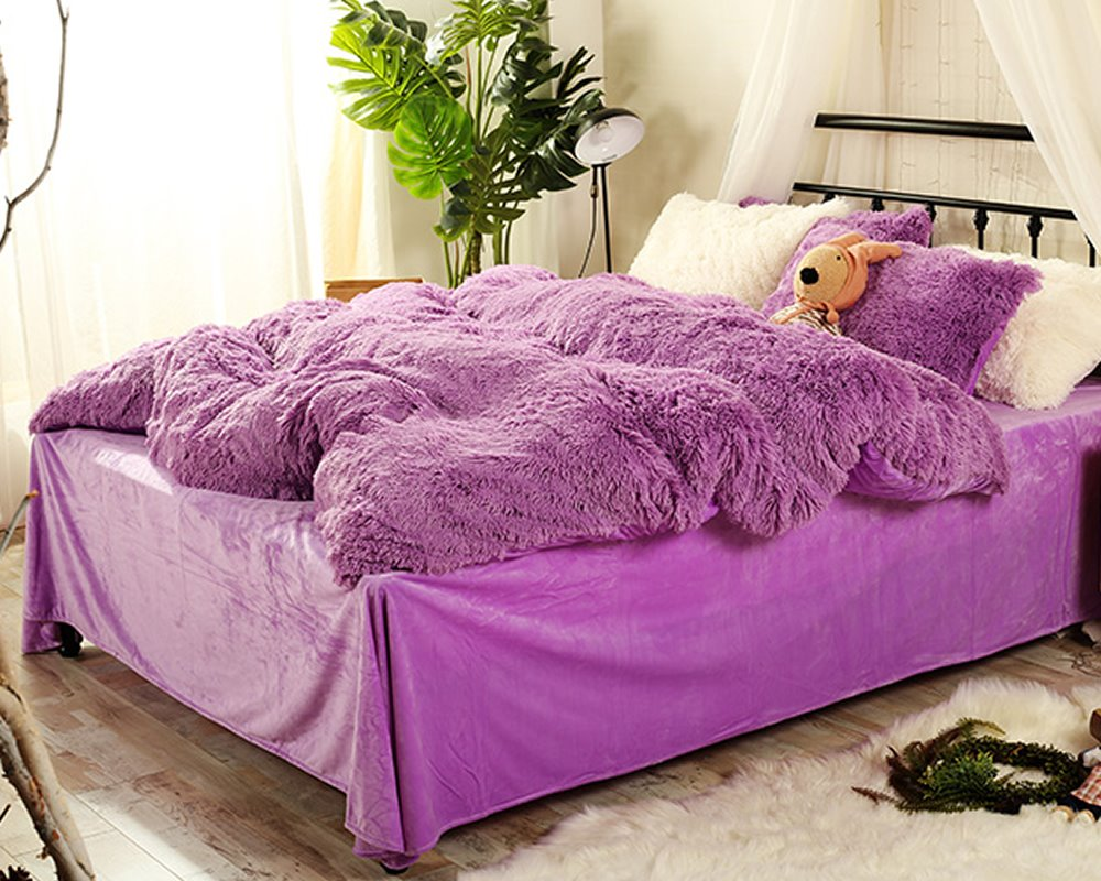 Full Size Solid Purple Super Soft Plush 4 Piece Fluffy