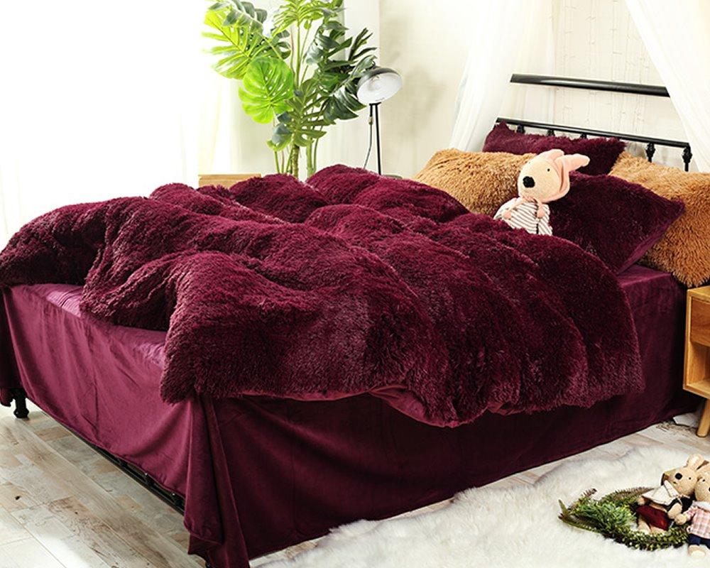 Charmant 66 Full Size Burgundy Red Super Soft Plush 4 Piece Fluffy Bedding  Sets/Duvet Cover