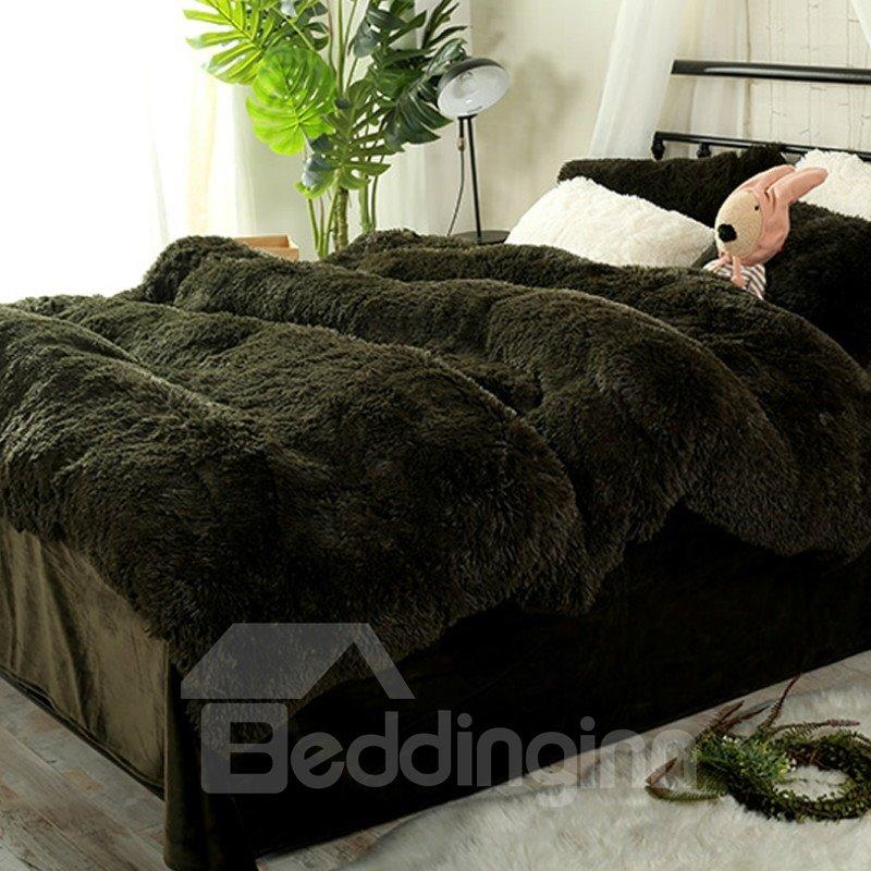Full Size Blackish Green Super Soft Plush 4 Piece Fluffy