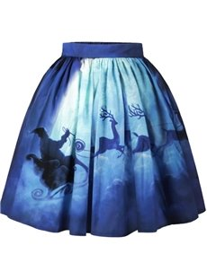 Christmas Santa Deer Snowman Pattern Formal Midi 3D Printing Skirt