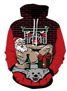 Sexy Santa Wine Gift Christmas Long Sleeve 3D Pattern Hoodie