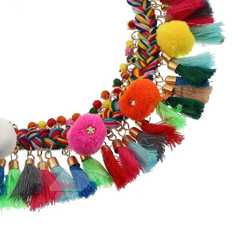 Bohemian Handmade Colorful Braided Tassels Necklace Collar