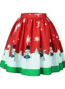 Elastic Knee-Length Christmas Snowman Flared Print Midi Skirt