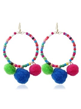 Women Colorful Pom Ball Bead Tassel Drop Dangle Earrings
