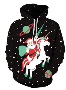 Santa with Unicorn Christmas Long Sleeve 3D Pattern Hoodie