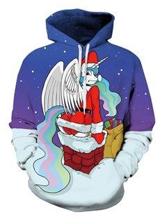 Santa with Wing Christmas Long Sleeve 3D Pattern Hoodie