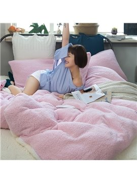 Solid Pink and White Reversible Polyester Faux Sherpa 4-Piece Bedding Sets/Duvet Cover