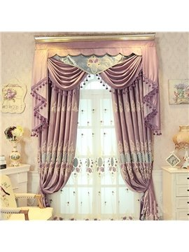 Concise and Modern Purple Embroidered Finished Curtain Living Room and Bedroom Sheer Curtain