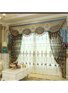 European Ritzy High Quality Chenille Hollowed-out Embroidery Living Room Custom Curtain