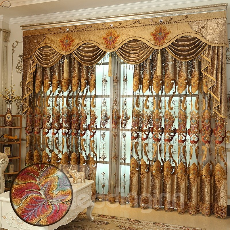 Luxury Golden Hollowed-out Embroidery Classical and European Style Living Room Custom Sheer Curtain