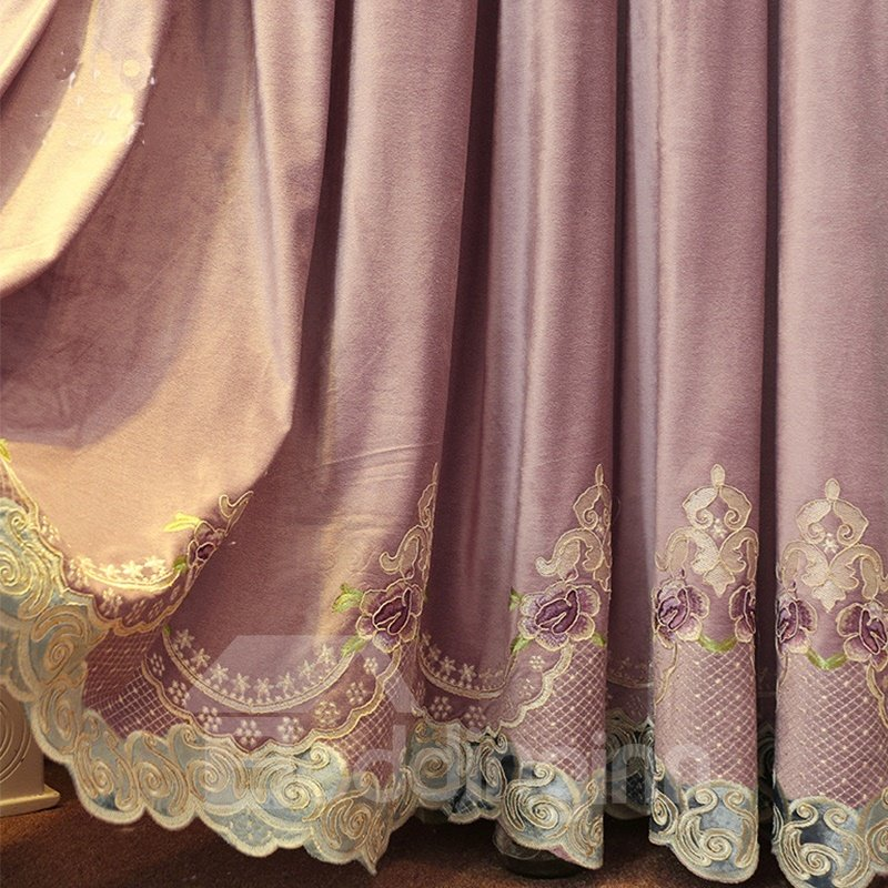 Concise And Modern Purple Embroidered Finished Curtain