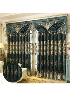 European Royal High Quality Soft Chenille Decorative and Blackout Living Room Custom Curtain