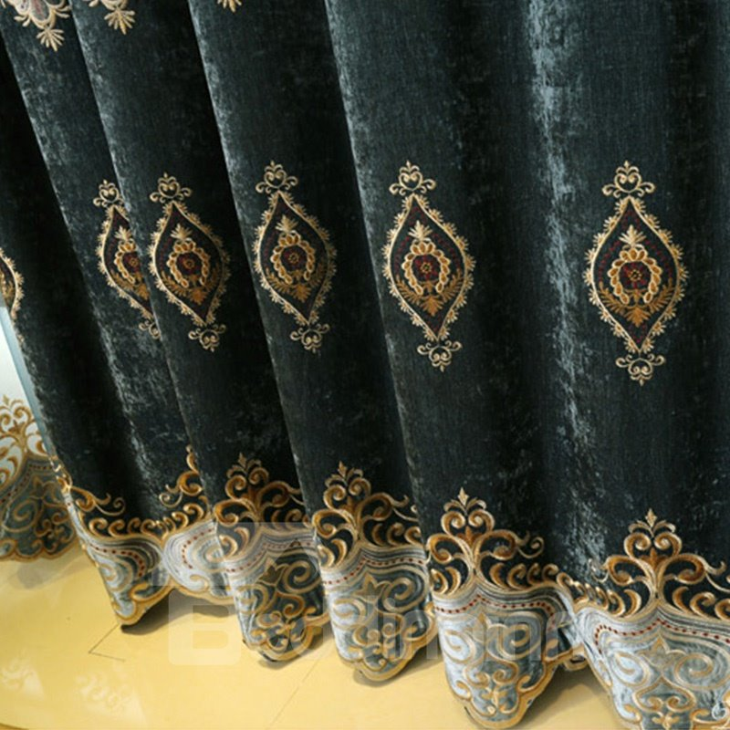 European Royal High Quality Soft Chenille Decorative and Blackout Curtain for Living Room