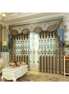 European Ritzy Style Chenille Hollowed-out Embroidery Living Room and Bedroom Decorative Curtain