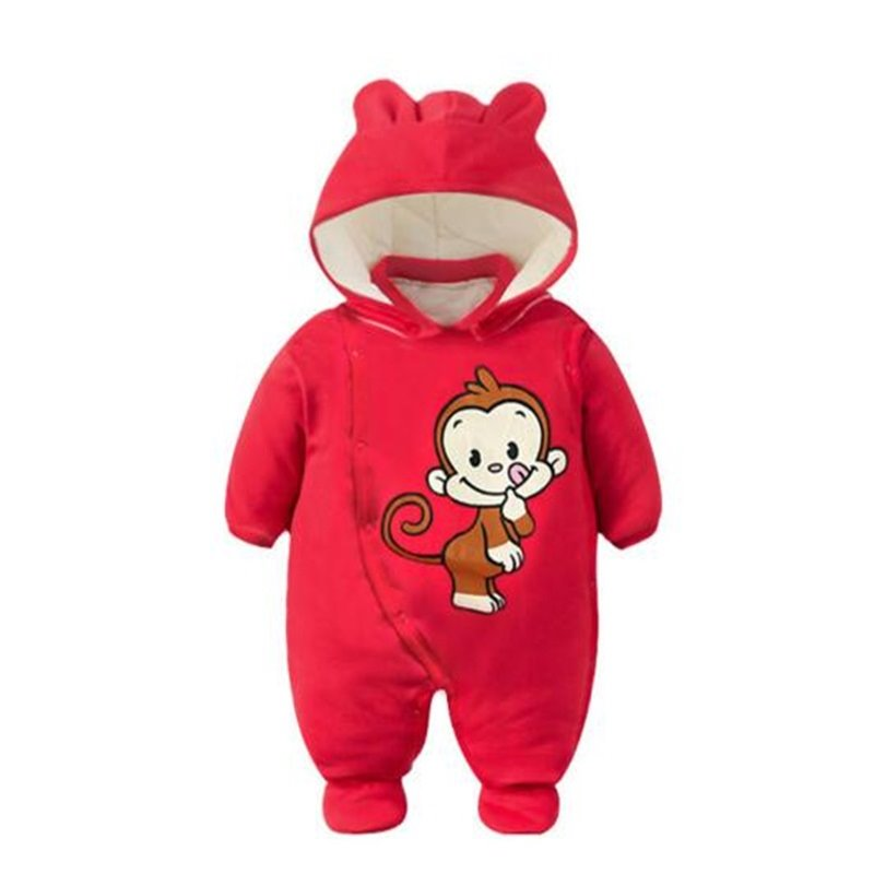Monkey Printed Simple Style Red Baby Sleeping Bag/Jumpsuit