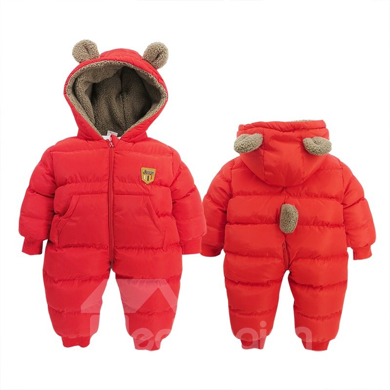 Bear Shape Flannel Simple Style Red Baby Sleeping Bag/Jumpsuit
