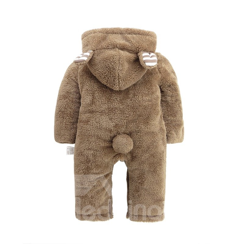 Bear Shape Cotton and Velvet Simple Style Brown Baby Sleeping Bag/Jumpsuit