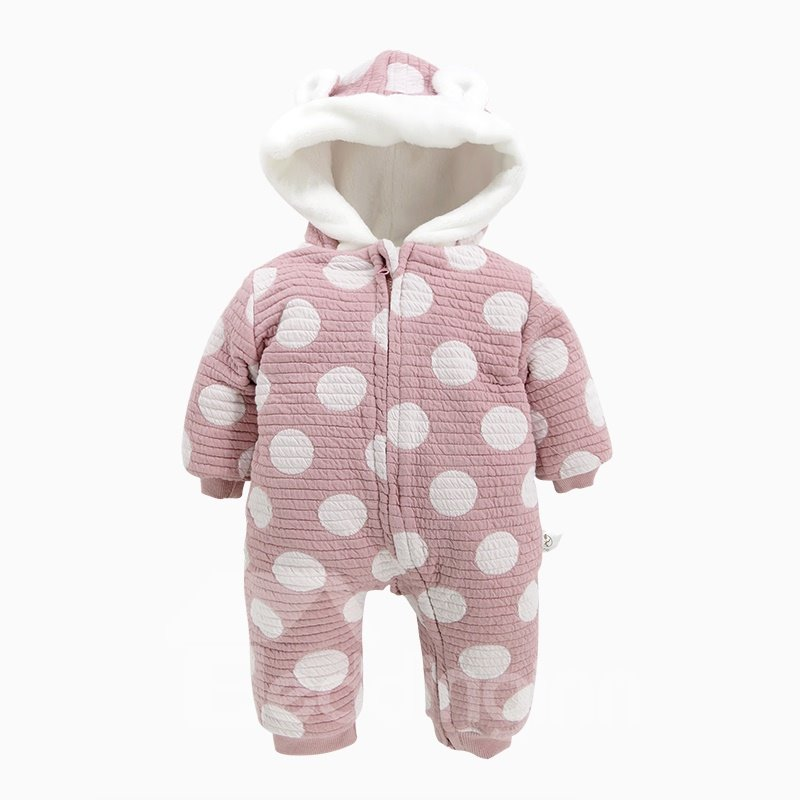 Polka Dot Cotton and Velvet Light Purple Baby Sleeping Bag/Jumpsuit